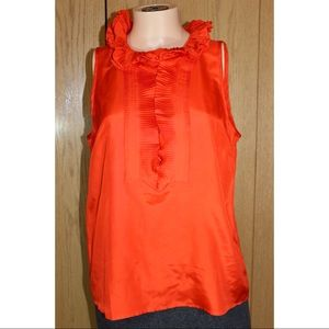 J. Crew Orange pleated Sleeveless Blouse